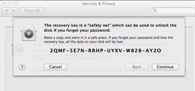 Macintosh Security Software Safety Net Recovery Key