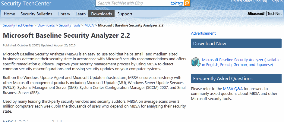Windows 7 Security Software Microsoft Baseline Security Analyzer