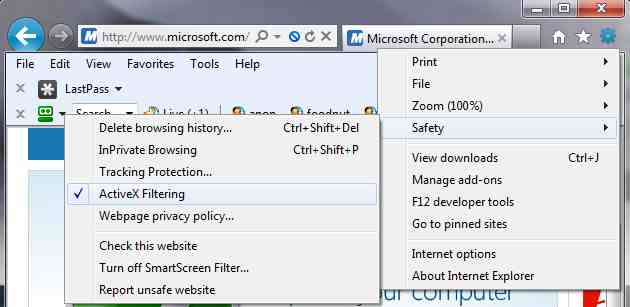 Internet Explorer 9 ActiveX Filtering Security IE9
