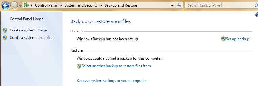 Windows 7 Create System Image Repair Disk