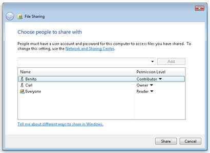 Windows 7 File Sharing Unsharing