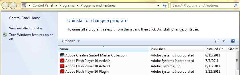 Windows 7 Uninstall Programs
